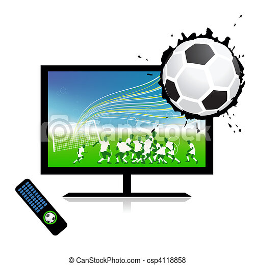 Football match  on tv sports channel - csp4118858