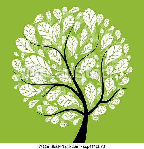 Art tree beautiful for your design - csp4118873