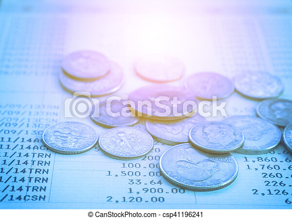 Coin stack on account book bank with retro color effected for finance and business concept