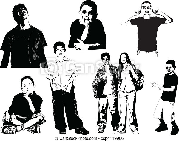 Eight teenager  silhouettes. Vecto - csp4119906