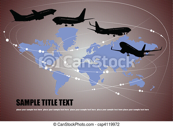Airplane silhouettes with Earth em - csp4119972