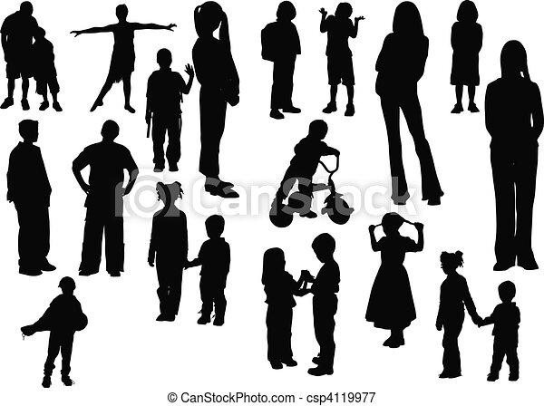 Twenty children  silhouettes. Vect - csp4119977