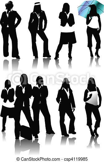 Nine women silhouettes. Vector ill - csp4119985