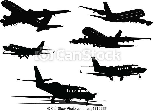 vecteur de six noir blanc avion silhouettes vecteur illustration csp4119988 recherchez. Black Bedroom Furniture Sets. Home Design Ideas