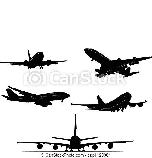 black and white Airplane silhouett - csp4120084