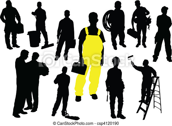 Twelve  people silhouettes. Worker - csp4120190