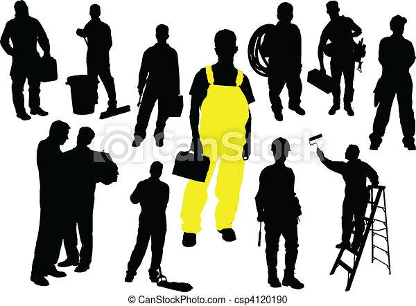 Twelve  people silhouettes. Worker - csp4120190