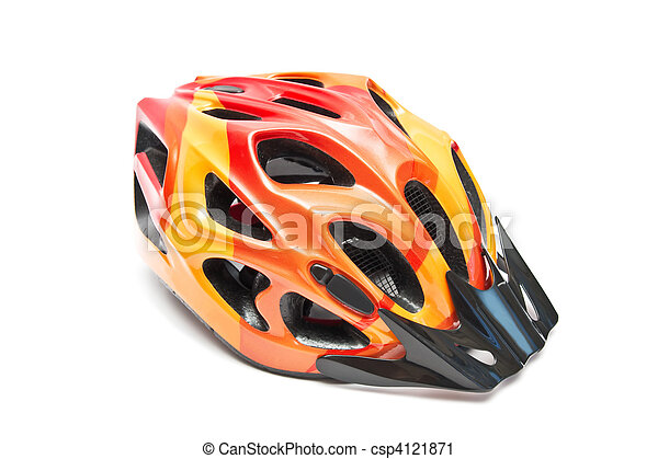 orange bicycle helmet - csp4121871