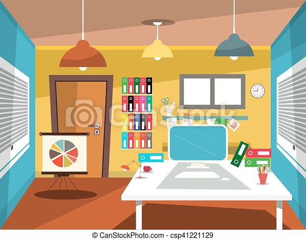 Vector Illustration Of Empty Office Room Vector Studying