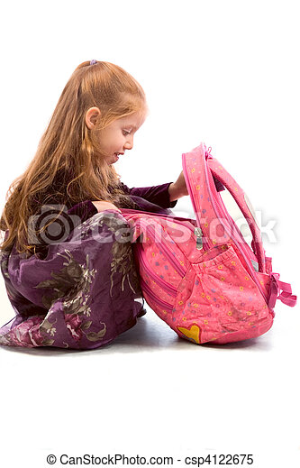 Girl with backpack - csp4122675