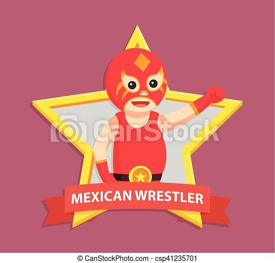 Vector Clipart of lucha libre in wrestler emblem csp41235701 ...