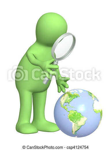 Puppet with a magnifier and Earth - csp4124754
