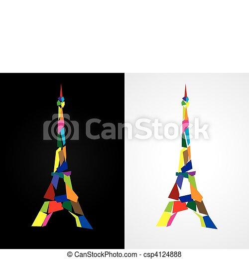 Eiffel tower abstract - Paris, Fran - csp4124888