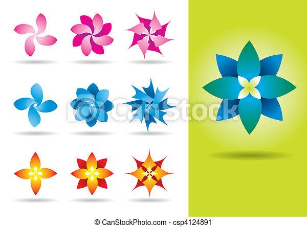 vector clip art of set of ten vector exotic flowers  vector, Natural flower