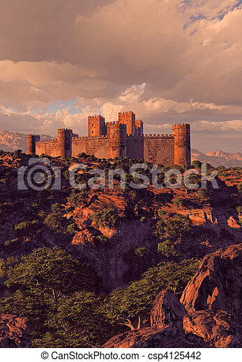Castle Fortress In The Mountains - csp4125442