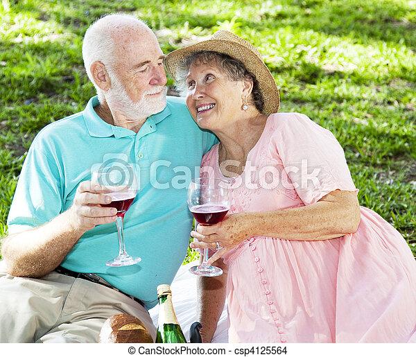 Picnic Seniors with Wine - csp4125564