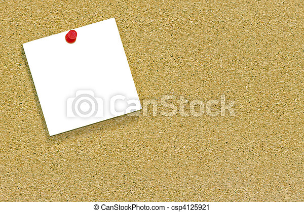 White note on a cork noticeboard - csp4125921