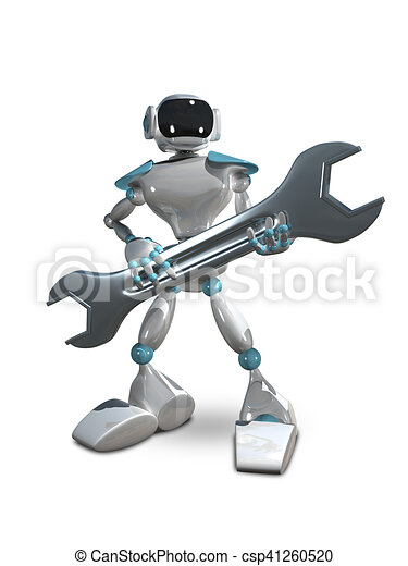 3D Illustration of Robot with Wrench - csp41260520