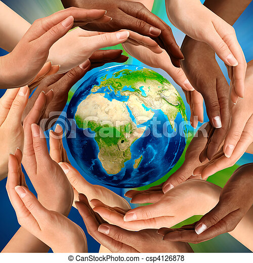 Multiracial Hands Around the Earth Globe - csp4126878