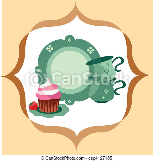 retro plate and cups beside dessert  - csp4127185