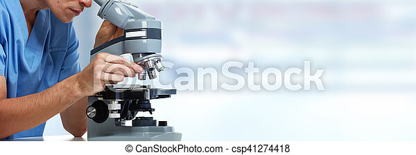 Scientist doctor man working with microscope. Medical health care medical research.
