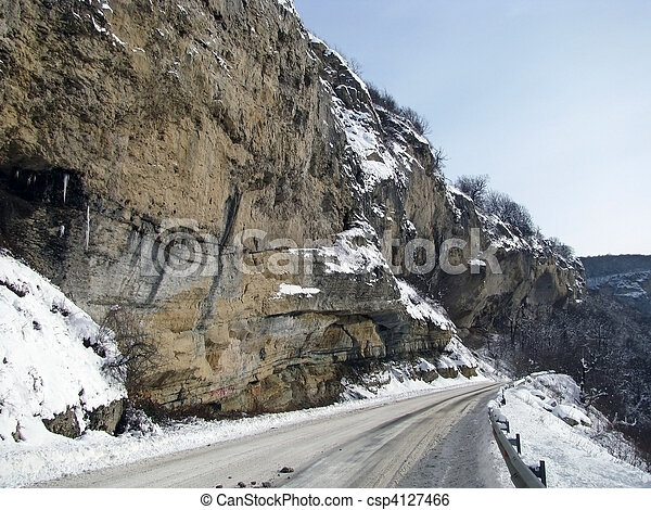 Rock; winter; snow; road; relief; nature