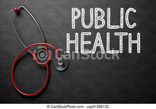 Black Chalkboard with Public Health - Medical Concept. Medical Concept: Public Health Handwritten on Black Chalkboard. Top View of Red Stethoscope on Chalkboard. 3D Rendering.