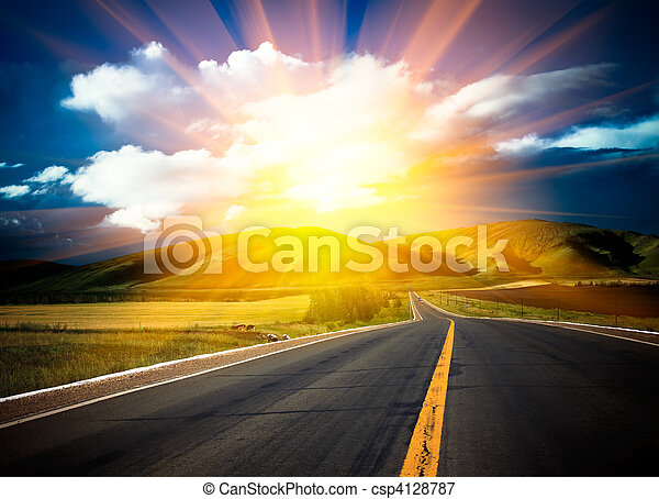 sunlight above the road. - csp4128787