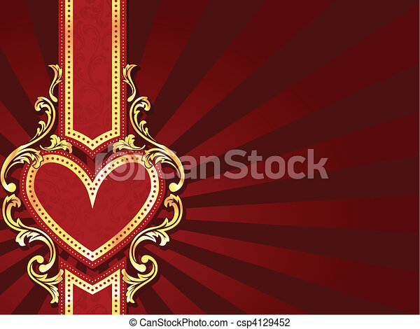 Horizontal heart-shaped red banner - csp4129452