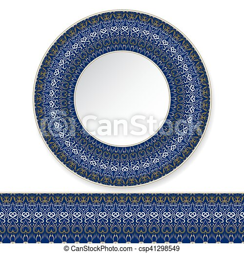 Blue plate with gold pattern - csp41298549