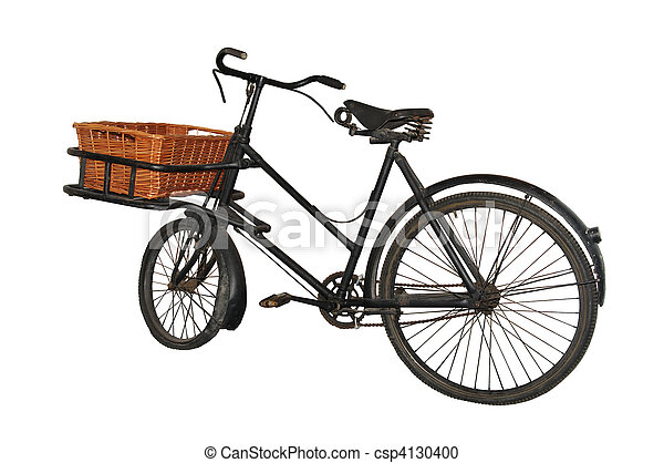 Vintage (1940s/50) baker's bicycle, isolated on pure white - csp4130400