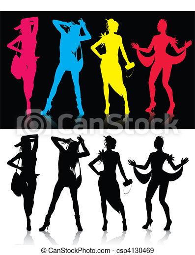Fashion model silhouettes - csp4130469