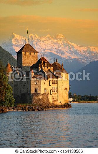 The Chillon castle in Montreux (Vaud),Switzerland - csp4130586