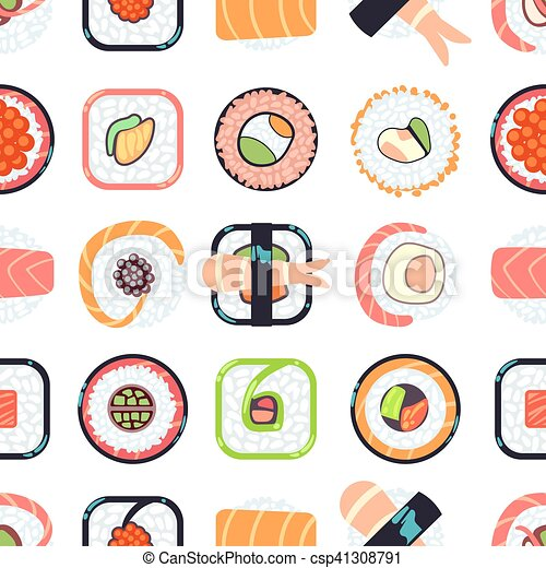 Japanese food sushi vector seamless pattern - csp41308791