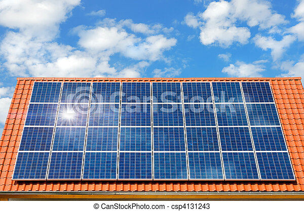 Solar panel on a roof - csp4131243