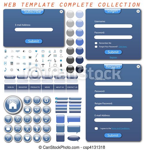 Complete web template collection with forms, bars, buttons, icons and chat bubbles. - csp4131318