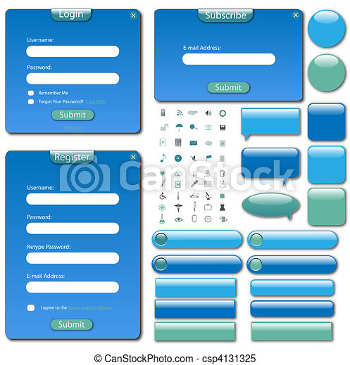 Colorful web template with forms, bars and buttons. - csp4131325