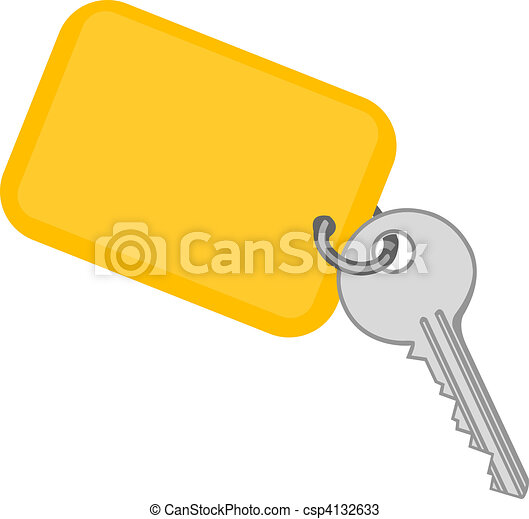 Vector illustration a metal key with a yellow charm - csp4132633