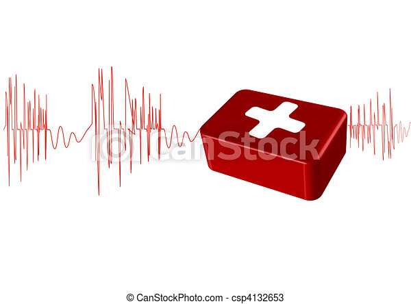 Vector illustration the cardiogram with the first-aid set - csp4132653
