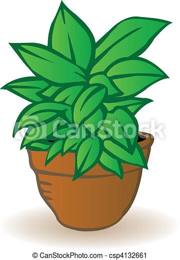 Vector illustration a flowerpot with a green flower - csp4132661