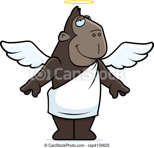 Clip Art Ape Clipart clipart vector of angel ape a happy cartoon with wings csp4134625