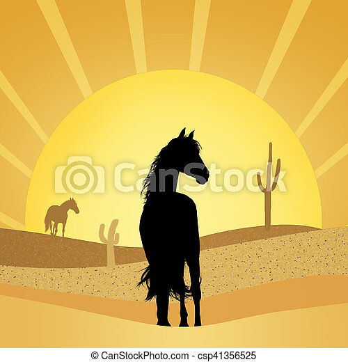 illustration of horses in the desert
