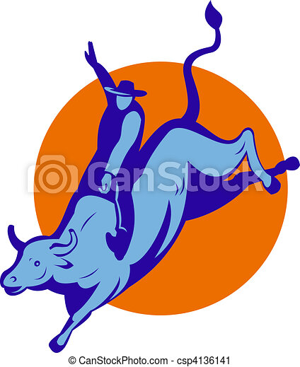 Rodeo cowboy bull riding - csp4136141