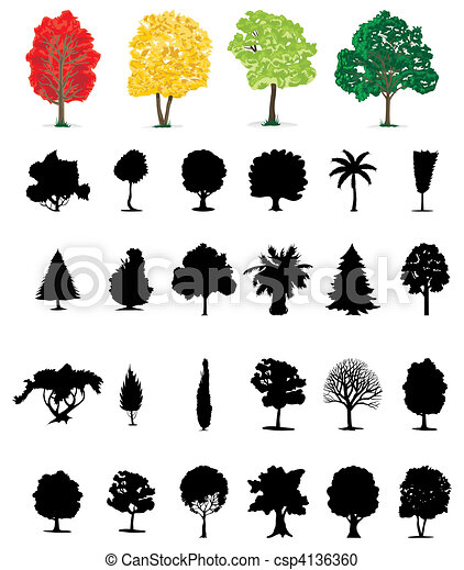 One-ton trees of Different colour. A vector illustration - csp4136360