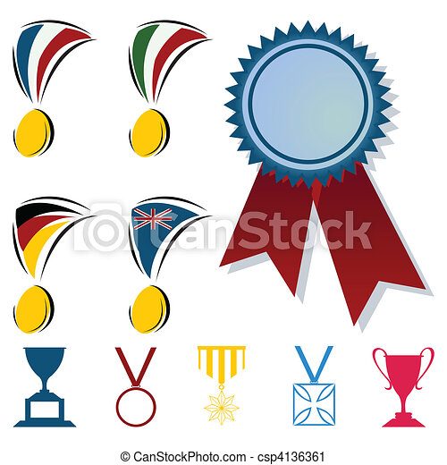 Awards in the form of medals and cups. A vector illustration - csp4136361