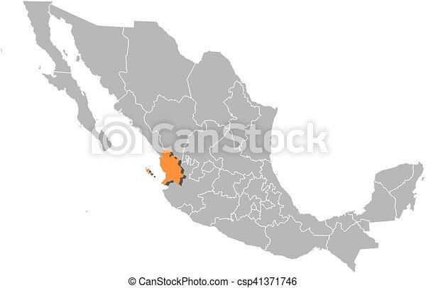 EPS vector de mxico mapa  nayarit  Map de Mexico con el