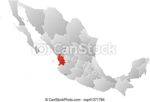 Vector de mxico mapa  nayarit  Map de Mexico con el
