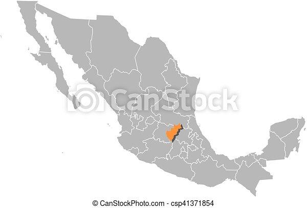 Clipart vectorial de mxico mapa  queretaro  Map de Mexico