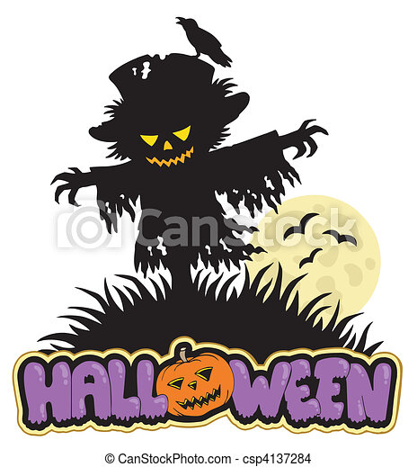 Halloween scarecrow with full moon - csp4137284