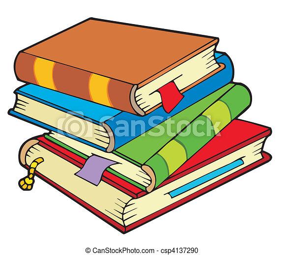 Bücherstapel clipart  Vektor Clipart von vier, bücherstapel, altes - Pile, von, vier ...